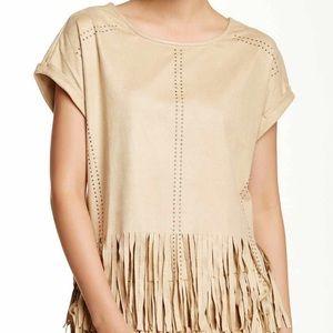 Romeo & Juliet Faux Suede Tan Fringe Shirt